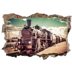 DesFoli Wandtattoo Fotografie Eisenbahn Lok Vintage D1771 bunt 110 cm x 70 cm
