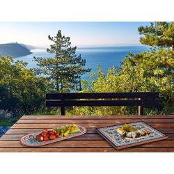 APS Servierplatte, Melamin, (2-tlg), Set Campinggeschirr, Geschirrset für Wohnmobil, Picknickgeschirr Outdoor braun