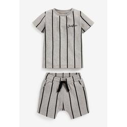 Next T-Shirt Längsgestreiftes T-Shirt und Shorts im Set (2-tlg) grau 62-68