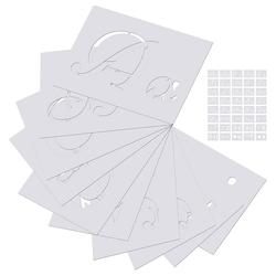 kueatily Lernspielzeug Pack mit 40 Buchstabenschablonen, Kunstalphabetschablonen, Buchstaben zum Malen auf Holz, großen Zahlen und Zeichen, Großbuchstaben, Kleinbuchstaben, Kunststoff, wiederverwendbar