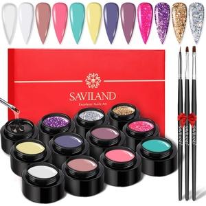 Saviland Builder Gels Nagelset – 12 Farben Nagelverlängerung Gel Kit Nagelhärter Maniküre Set mit Nagelformen Nagelbürste für Nägel DIY Nail Art Supplies