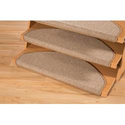 Stufenmatte Bob, Andiamo, halbrund, Höhe 4,5 mm, Teppich-Stufenmatten, Treppen-Stufenmatten, Treppenschutz, für innen, im Set, meliert natur
