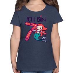 Shirtracer T-Shirt Ich bin 7 Meerjungfrau - Geburtstag Kind - Mädchen Kinder T-Shirt - T-Shirts tortendeko meerjungfrau essbar 104 (3/4 Jahre)