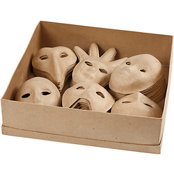 Pappmaché Masken, H 12-21 cm, 60 Stück