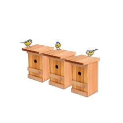BigDean Vogelhaus 3x Meisennistkasten Meisen Vogelhäußchen Massivholz Vogelhaus 25,5 x 16 x 17 cm Einflugloch 28mm Nistkasten