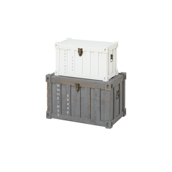 Aufbewahrungsbox, 2er-Set ¦ grau ¦ Metall, Holz