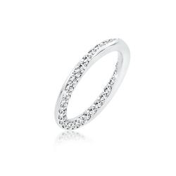 Elli Fingerring Bandring Kristalle Silber, Kristall Ring weiß 52