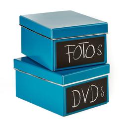 2er Set DVD Box - Emelie - petrol - mit Kreidetafel