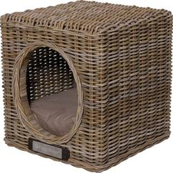 Hundehöhle Katzenhöhle aus Rattan, 41 cm x 41 cm x 46 cm, braun