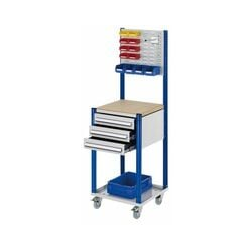 Mobile Arbeitsstation RAL 7035/5010, 1730 x 500 x 500 mm, 3 Schublade