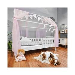 Alcube Kinderbett Hausbett Deko Set, Dekoration für Hausbetten mit Baldachin Lichterkette und Wimpel rosa