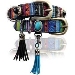 FRONHOFER Hunde-Halsband 18682, Echtleder, ausgefallenes Hundehalsband 2,5 cm Boho Style, echt Leder, Nieten, Stahlschnalle blau 2.5 cm x 45 cm - 52 cm