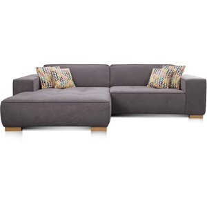 """Cavadore Ecksofa """"Zappo"""" mit Federkern und XXL Longchair / XXL Sofa L-Form mit tiefen Sitzflächen / Modernes Design / 293 x 78 x 172 cm / Grau"""