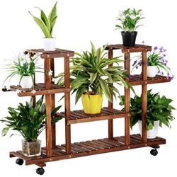 Yaheetech Blumenständer, Blumenregal, Pflanzentreppe für Indoor Balkon Wohzimmer Outdoor Garten Dekor Pflanzenregal Holz 124 x 33 x 80 cm
