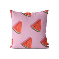 Kissenbezug, VOID (1 Stück), Wassermelone Pink Kissenbezug Melone Früchte Frucht Essen Urlaub Küche Obst 40 cm x 40 cm