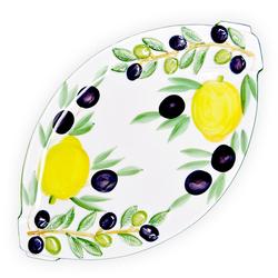 Lashuma Servierteller Zitrone Olive, Keramik, Ovaler Wurstteller, Servierplatte aus Italien 20 cm x 33 cm x 2 cm