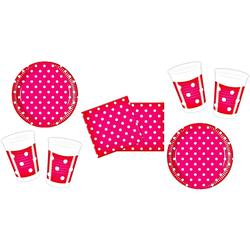 TOP! Einweggeschirr-Set Partyset Dots - 52 Teile, rot
