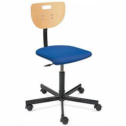 WEREK PLUS Werkstatt-Drehstuhl mit Holzrücken, Sitz mit Kunstlederbezug