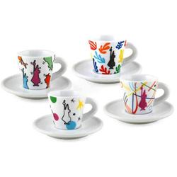 Bialetti Set 4 Espressotassen mit Untertassen Arte