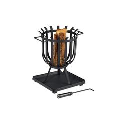 relaxdays Feuerkorb XL Feuerkorb mit Bodenplatte