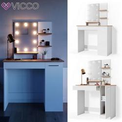 VICCO LED Schminktisch JULIA Frisiertisch Kommode Spiegel Weiß Eiche Kommode