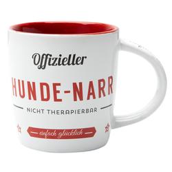 Nostalgic Art Kaffeebecher Hunde-Narr weiß-rot, Maße: ca. 8,5 x 9 cm