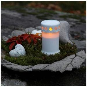 STAR TRADING LED-Kerze LED Grablicht Novenkerze SERENE Grabkerze flackernde gelbe LED H: 13,5cm weiß