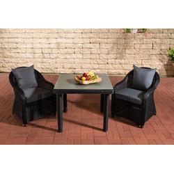 CLP Gartenmöbelset San Juan Milchglas 100 x 100 cm, 2 Gartenstühlen und einem Esstisch schwarz