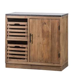 Massiver Küchenschrank mit zwei Holzkörben Vintage Look