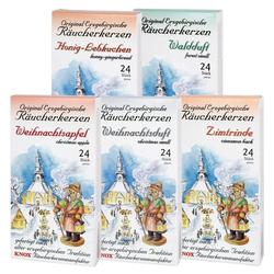 KNOX Duftkerze 5er Räucherkerzen Set, Weihnachtsduft, Honig-Lebkuchen, Waldduft, Zimtrinde, Weihnachtsapfel - Made in Germany