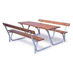Außentisch mit sitzbänken, rückenlehnen