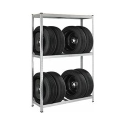 Juskys Metall Reifenregal Drive | 8 Reifen | 180 x 117 x 40 cm | 1 Boden aus MDF Holz max. 200 kg |
