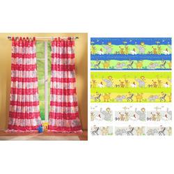 Gardine, Gardinenbox, Schlaufe (2 Stück), Kindergardinen Set mit süßen Tieren 60010 rosa