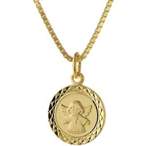 trendor 75323 Engel Schmuck-Anhänger für Kinder Gold 585 + vergoldete Kette, 42 cm