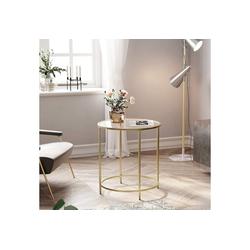 VASAGLE Beistelltisch LGT20G, Beistelltisch rund, Glastisch, Couchtisch, Nachttisch Gold
