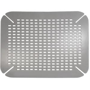iDesign Spülbeckeneinlage, kleine Spülbeckenmatte aus PVC Kunststoff, Spülmatte mit Ablauföffnungen für Spüle und Waschbecken, hellgrau