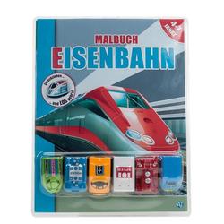 Malbuch Eisenbahn m. 6 Rückzieh-Spielfahrzeugen: Buch von