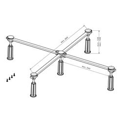 poresta Ferroplast® D5 Standard XL Duschwannenfuß für Acryl- und Stahlduschwannen von 75 x 80 cm bis 100 x 100 cm