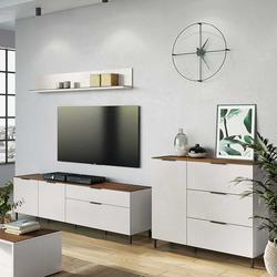 Fernseher Schrankwand in Hellgrau und Nussbaumfarben Made in Germany (3-teilig)