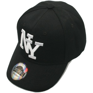Cappy NY Cap New York Kappe Mütze Herren gebogen Strapback Schwarz Frauen black