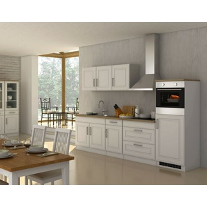 Einbauküche mit Elektrogeräten Küchenblock mit E-Geräten Küchenzeile 290cm weiss