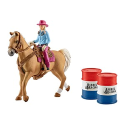 Schleich® Farm World 41417 Barrel Racing mit Cowgirl Set