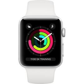 Apple Watch Series 3 GPS 42 mm Aluminiumgehäuse silber mit Sportarmband weiß