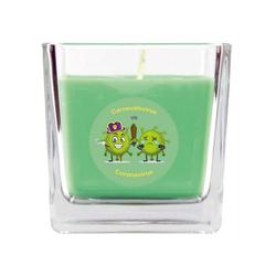 HS Candle Duftkerze (1-tlg), Karneval - Fasching Kerze im Bonbon Glas, Kerze mit Karneval's - Motiv grün Ø 8 cm x 8 cm x 8 cm