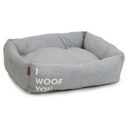 Beeztees Hundebett I Woof You grau, Maße: 80 x 70 x 22 cm