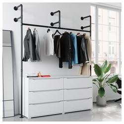 Vicco Garderobe Loft Kleiderschrank RUBEN Kleiderstange offen begehbar Kommode 160 cm