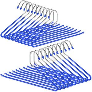 Relaxdays Hosenbügel 20er Set, rutschfeste Kleiderbügel für Hosen & Röcke, Metall, Hosenhalter offen, 35,5cm breit, blau