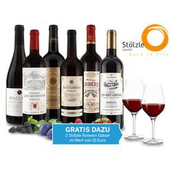 Kleines französisches Rotwein-Paket mit 2 Rotweingläsern gratis