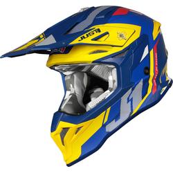 Just1 J39 Reactor Motorcross helm, blauw-geel, XL