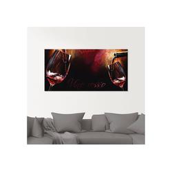 Artland Glasbild Wein - Rotwein, Getränke (1 Stück) 50 cm x 100 cm